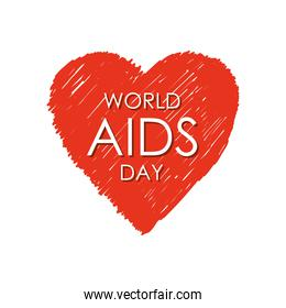 world aids day design with grunge heart icon, flat style