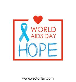 world aids day design with decorative square frame and heart and ribbon, flat style