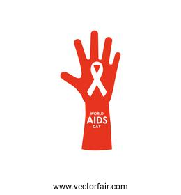 world aids day design with red hand and ribbon, flat style