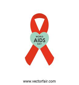 world aids day design with red ribbon and green heart, flat style