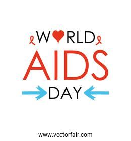 world aids day design with decorative arrows, heart and ribbons, flat style