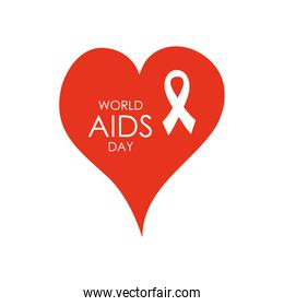 world aids day design with red heart and white ribbon, flat style