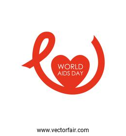 world aids day design with long ribbon and red heart icon, flat style
