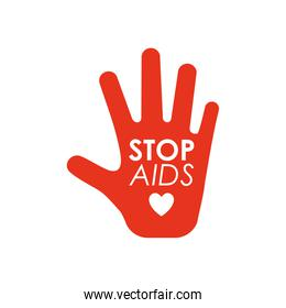 world aids day concept, red hand with stop aids lettering design, flat style