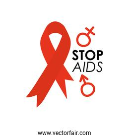 world aids day design with red ribbon and gender symbols icon, flat style
