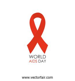 world aids day design with red ribbon icon, flat style