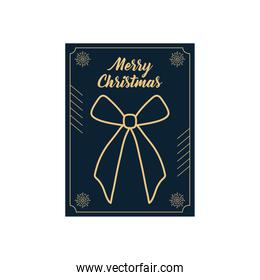 christmas minimalist card with gift bow icon