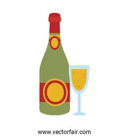 champagne bottle and glass icon, handrawn style