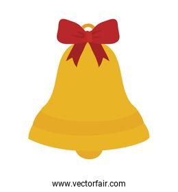 christmas bell with decorative red bow, handrawn style