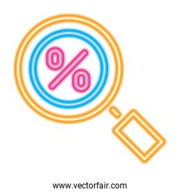 magnifying glass with percentage symbol, neon style
