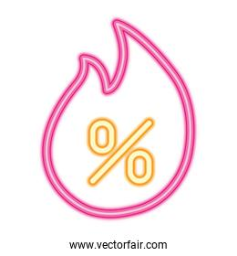 fire flame with percentage symbol icon, neon style