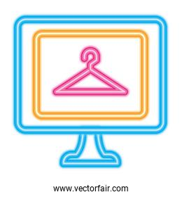 computer with clothes hanger icon, neon style