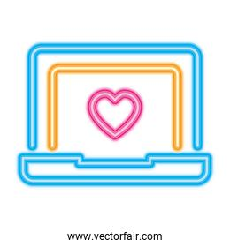 laptop computer with heart icon, neon style