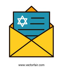 hanukkah envelope icon, line and fill style