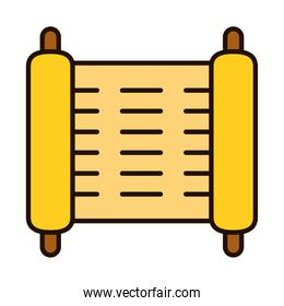 torah parchment paper scroll icon, line and fill style
