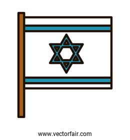 israel flag icon, line and fill style