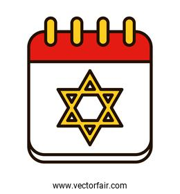 hanukkah date on calendar with star of david icon, line and fill style