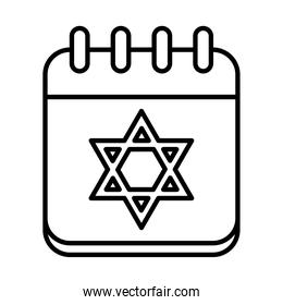 hanukkah date on calendar with star of david icon, line style