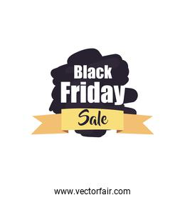 black friday sale on brush stroke with ribbon flat style icon vector design