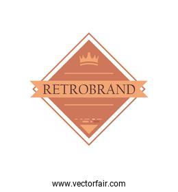 vintage label with ribbon and crown vector