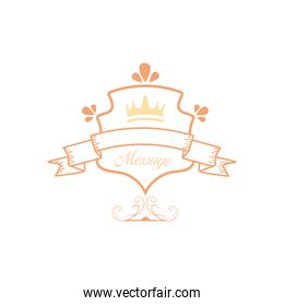 vintage ribbon and crown on shield vector design