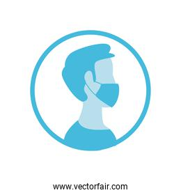 Man using facemask in seal stamp vector design