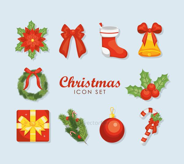 red bow and christmas icon set