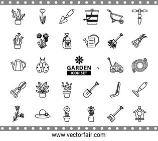 bundle of gardening tools line style icons