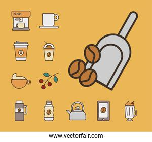 shovel with grains and bundle of coffee set fill style icons