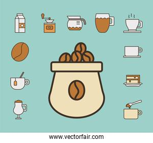 sack with bundle of coffee set fill style icons