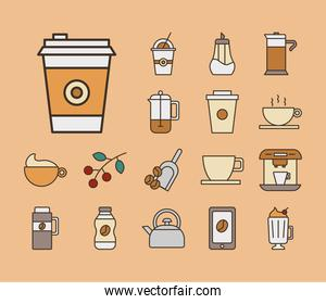 bundle of coffee set fill style icons