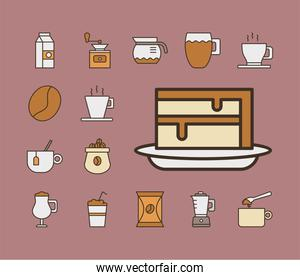 sweet cake with bundle of coffee set fill style icons