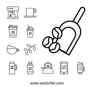shovel with grains and bundle of coffee set line style icons