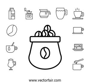 sack with bundle of coffee set line style icons