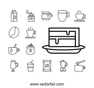 sweet cake with bundle of coffee set line style icons