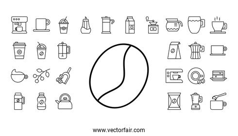 grain with bundle of coffee set line style icons