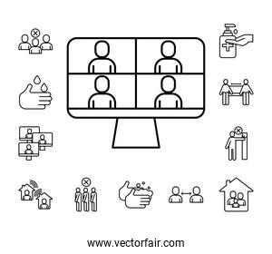 people in teleconference with desktop and bundle line style icons