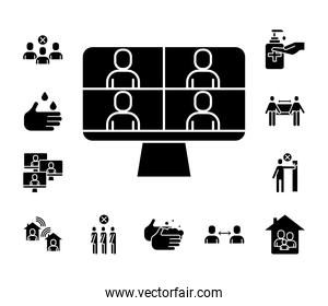 people in teleconference with desktop and bundle silhouette style icons
