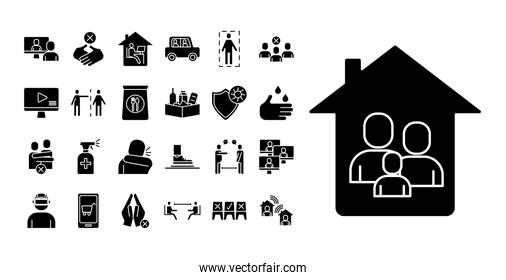 house facade with Stay at home with bundle silhouette style icons