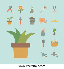 houseplant with bundle of gardening tools flat style icons