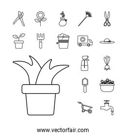 houseplant with bundle of gardening tools line style icons