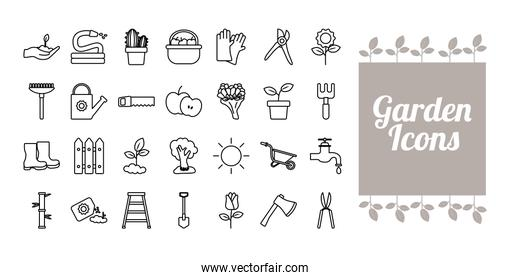 lettering with bundle of gardening tools line style icons