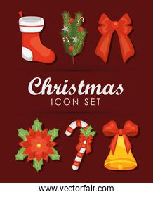 christmas and christmas sock icon set