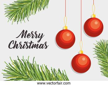 merry christmas design with decorative leaves and christmas balls hanging