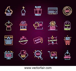 icon set of black friday neon designs, colorful design