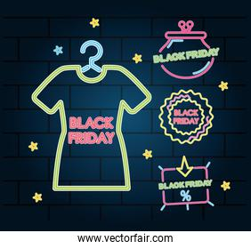 shopping and black friday icon set, colorful neon design