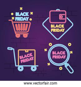 icon set of black friday designs, colorful design