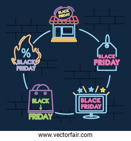 icon set of black friday designs, colorful neon design