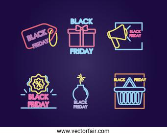 black friday neon designs icon set, colorful design