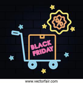 black friday neon design with hand card and percentage symbol, colorful design
